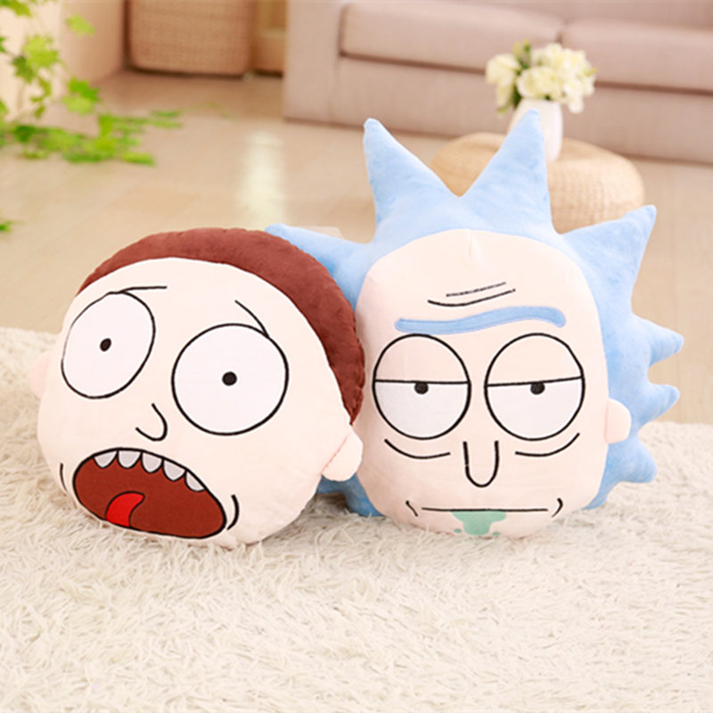 1pc Cartoon Figure Rick and Morty Plush Pillow Stuffed Plush Rick and Morty Pillow Cushion Decoration Toys Kids Gifts
