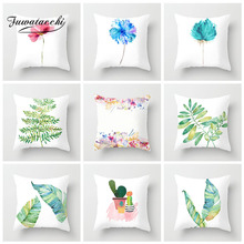 Fuwatacchi Plant Painted Cushion Cover Pineapple Cactus Flower Pillow For Home Car Sofa Chair Decoration White Pillowcases