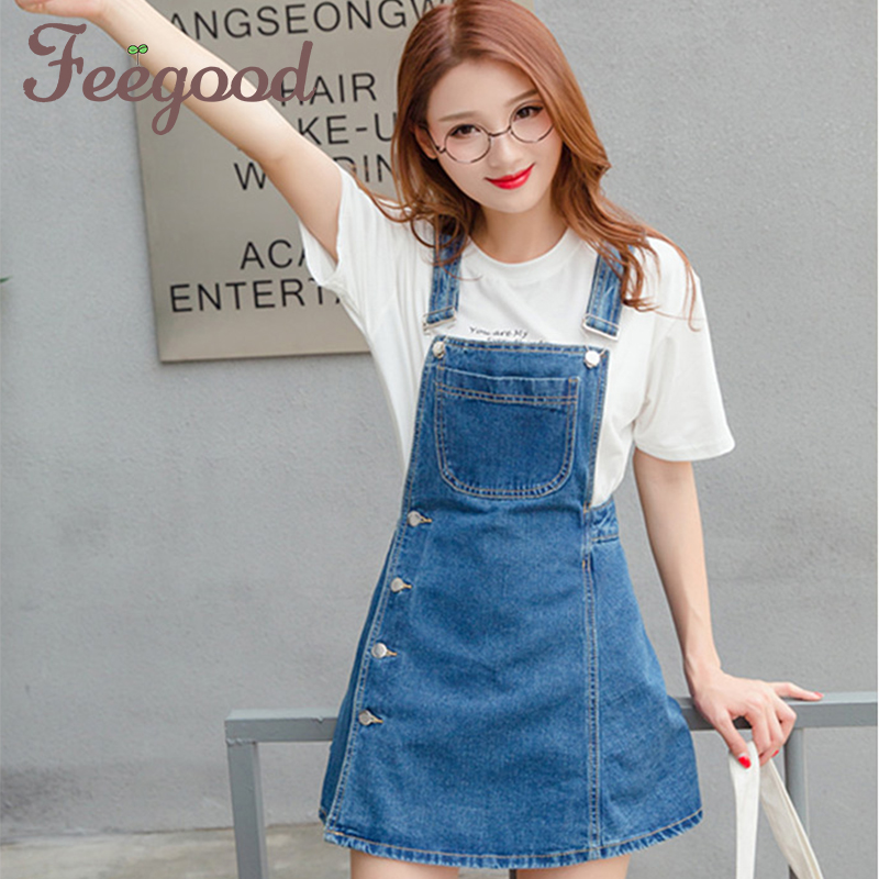 Splicing Slim Braces Skirt New 2018 Sweet Womens Denim Skirts Preppy Style Buttons Young Fashion A-line Suspender Skirt XPS001