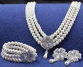 Cream Pearl Wedding Jewelry Sets Women's Necklace Bracelet and Earrings Silver Plated