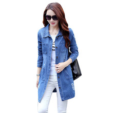 spring autumn women outerwear 2018 new style mid-long female denim jacket loose