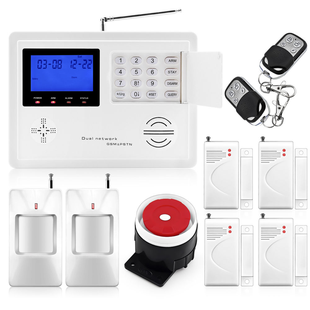 LCD GSM SMS Wireless-Home-Security-Burglar-House-Office-Alarm-System-Auto-Call wireless sms home gsm alarm system 7 lcd keyboard ru sp eg fr it voice house intelligent auto burglar door security alarm system