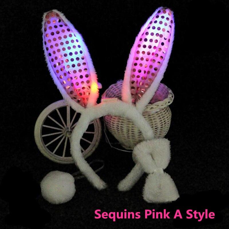 Yeni Işık Glow Yanıp Sönen Peluş Tavşan Tavşan Kulakları - Tatiller ve Partiler Için - Fotoğraf 6