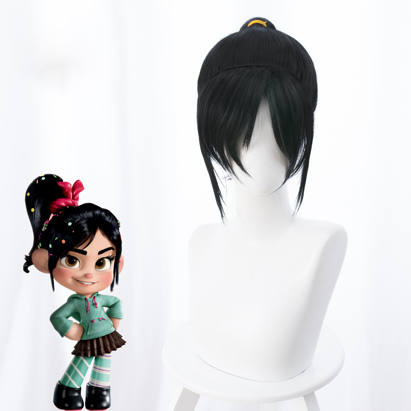 Ralph Breaks the Internet Wreck-It Ralph 2 Vanellope Black Cosplay Wig Halloween Cosplay Prop No candy  + Wig Cap