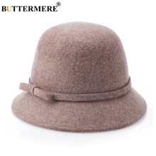 BUTTERMERE Wool Fedora Womens Hats Khaki Tweed Bowler Felt Hat Female Elegant Solid Warm British Cap Lady Autumn Winter