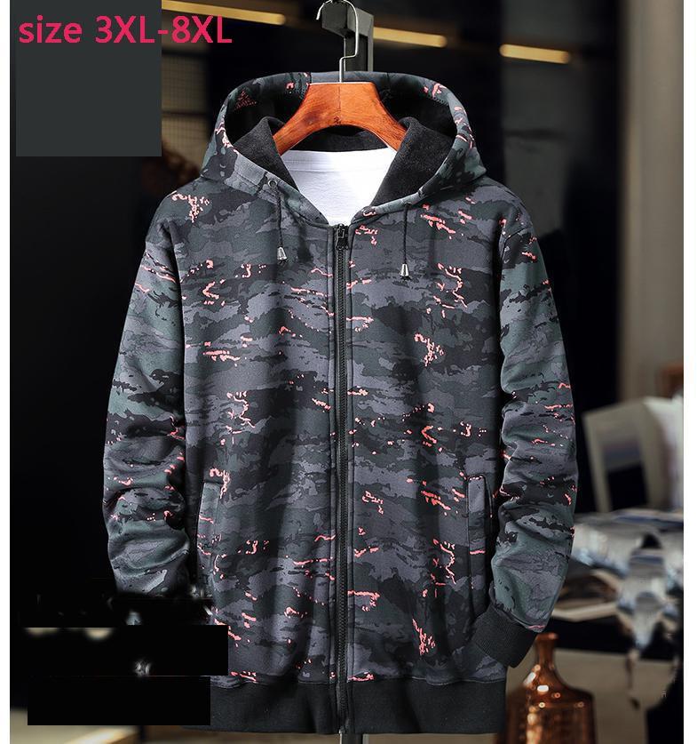 New arrival fshion super large Men Casual Mens Hoodies Print camouflage coat plus velvet men jacket obese size 3XL4XL5XL6X7XL8XL