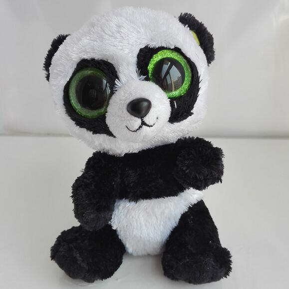 1pc 16 cm Ty Panda Plush Toy TY Beanie Boos Big Eyed Stuffed Animals Bamboo Panda Kids Plush Toy For Children Gifts new beanie boos scoop white snowman plush animals 6 15cm ty big eyes stuffed animal cute soft toys for children kids gifts