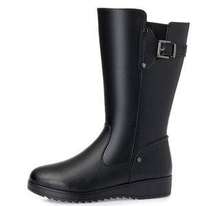 Image 3 - DRKANOL botas de nieve cálidas de piel de lana Natural para mujer, zapatos planos de invierno, botas de media caña de cuero genuino, impermeables, color negro, talla grande 35 43