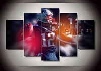 5 Pieces HotEngland Patriots Tom Brady Sports Poster Pictures For Living Room HD Print On Canvas
