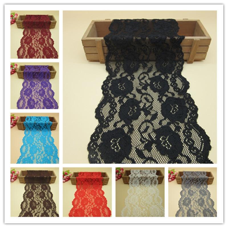 5 yardas 12 mezcla de color elástico cinta de encaje 16 CM de ancho - Artes, artesanía y costura