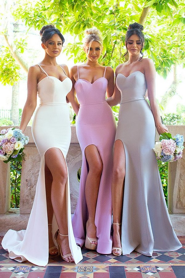 2019 Cheap   Bridesmaid     Dresses   Under 50 Mermaid Spaghetti Straps Pink Slit Sexy Long Wedding Party   Dresses   For Women