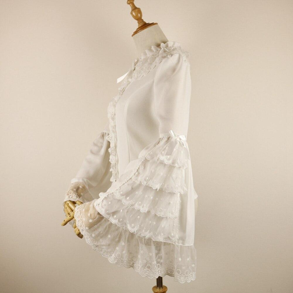 Femmes magnifique Lolita Blouse Vintage longue Flare dentelle manches en mousseline de soie chemise hauts avec des volants superposés