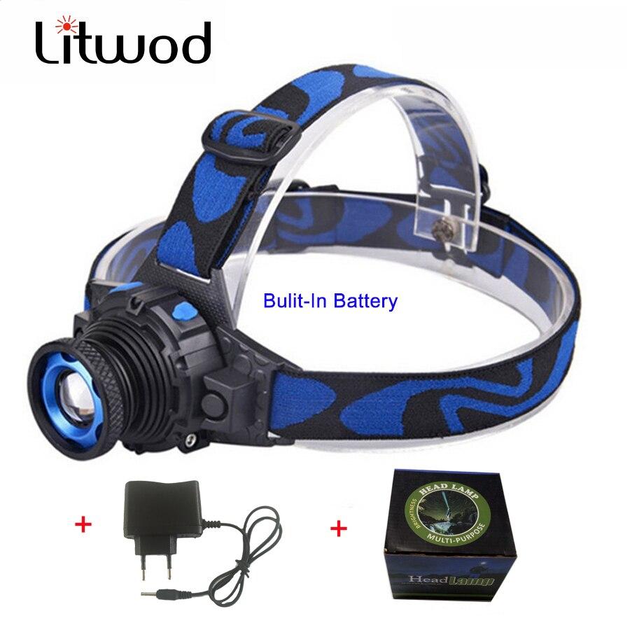 Litwod z20 Cree Q5 LED Frontale Led Phare de Phare lampe de Poche Rechargeable Lampe Torche Tête lampe Construire-Dans La Batterie + chargeur
