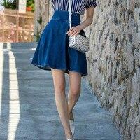 Women Denim Skirt 2017 Fashion Faldas Mujer Cute Single Breasted High Waist Umbrella Blue Jeans Mini