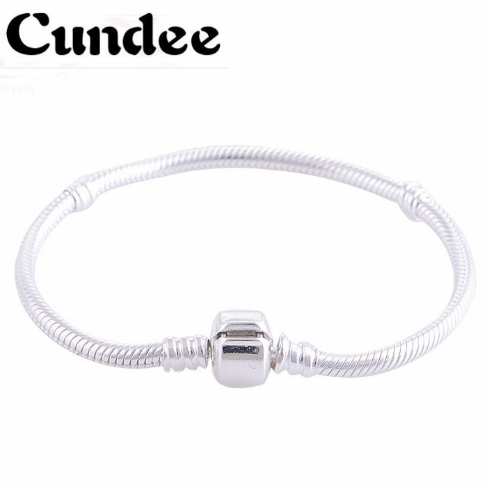 925 Sterling Silver Bracelet With Clasp Clip Charm Bracelets Snake Chain Bracelet DIY Fits European Brand Charm Beads silver multi layers chain with leaf shape charm bracelets