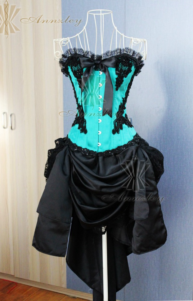 Plus Size Gothic Blue And Black Corset Dresses For Prom Party