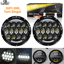 цена на CO LIGHT 7 110W LED Headlights Turn Singal for Jeep CJ Wrangler JK DRL 12V 24V Headlamps Driving Light for Land Rover Defender