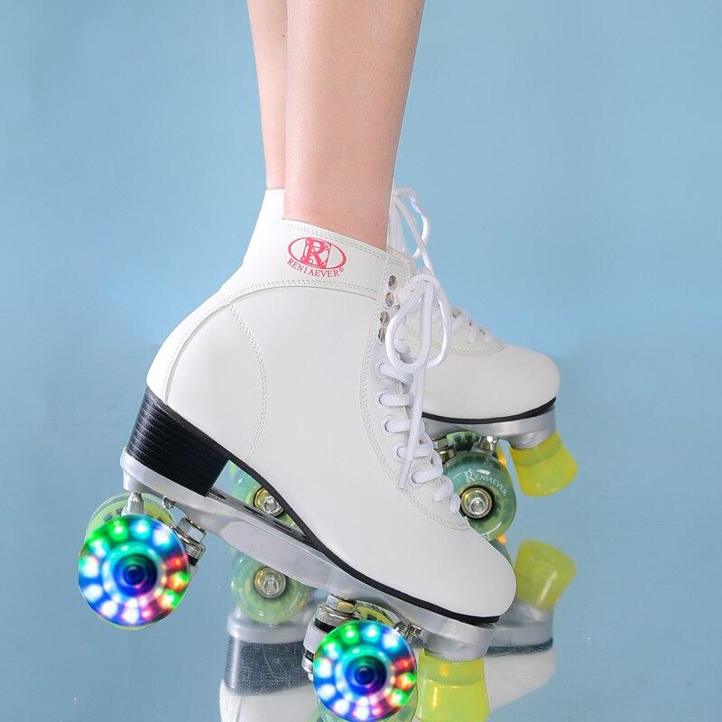 Patins à roulettes classique blanc et vert Flash LED roues haut-haut Quad Roller livraison gratuite