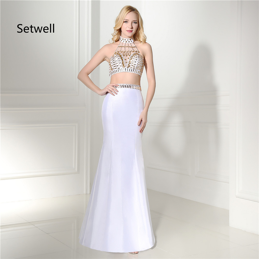 Setwell Sexy Two Piece Prom Dresses 2017 Gold Sequin Prom Dresses High Neck Backless Evening Gown Mermaid Evening Dress