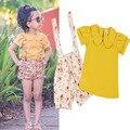 Ins горячей Новорожденных девочек одежда устанавливает Летний стиль прекрасный короткими рукавами Футболки + цветочные брюки детская одежда Повседневная одежда 2016