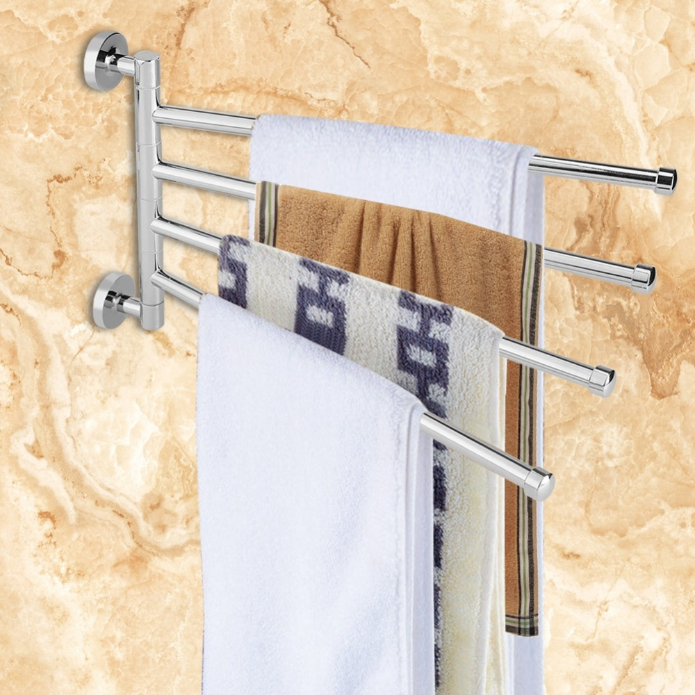Stainless Steel Towel Holder Rotating Towel Wall Mounted Hanger Hook Organizer Home Bathroom Holder Accessory Towel Rack storage