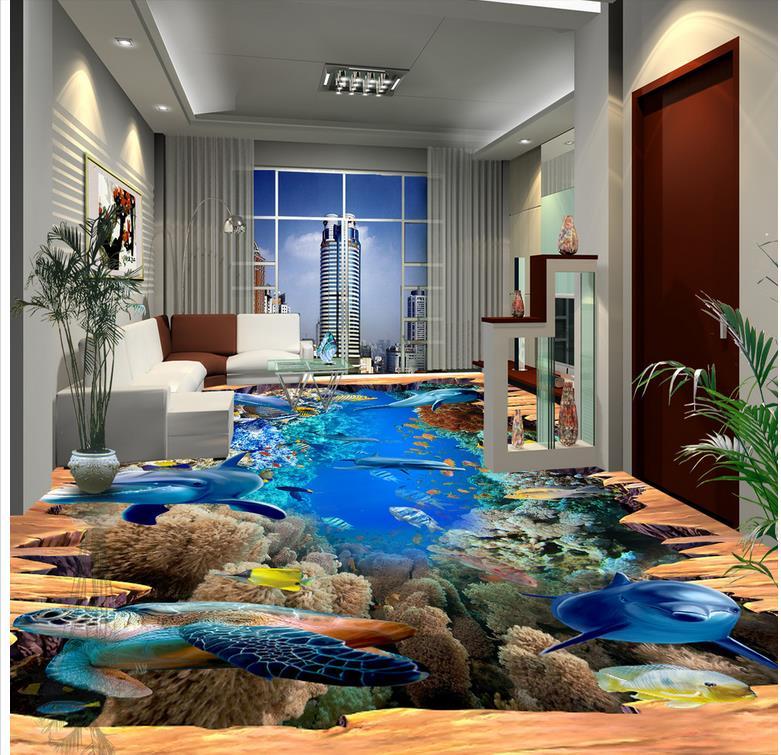 Plancher de papier peint 3D pour salon dauphin Photo personnalisée auto-adhésif 3D plancher papier peint 3d pour salles de bains