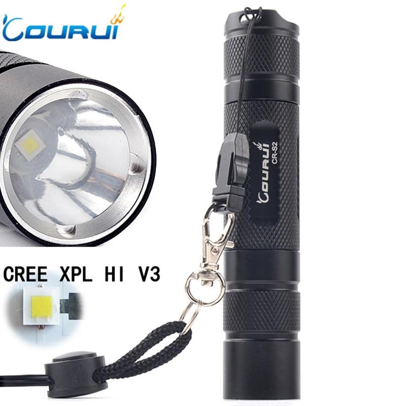 COURUI CR-S2+ Powerful Tactical LED Flashlight 18650 CREE XPL Hi V3 1200lm High Power Pocket Light Penlight 5 Modes Light Torch
