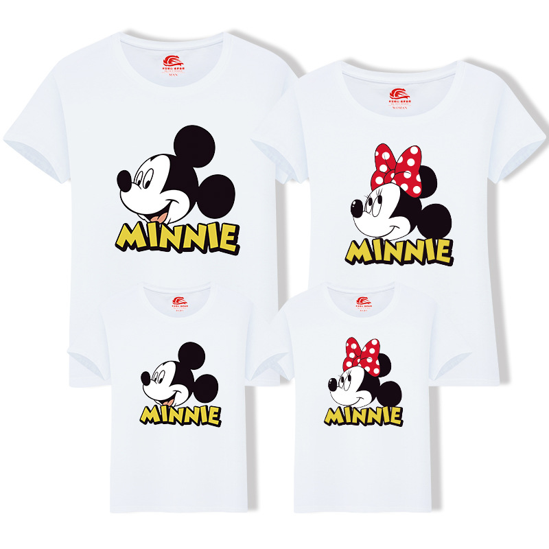 Sylvanian Families Fashion Summer Family Look Cotton T-shirt Minnie Mouse Mommy and Me Outfits Baby Boys Clothes H0074