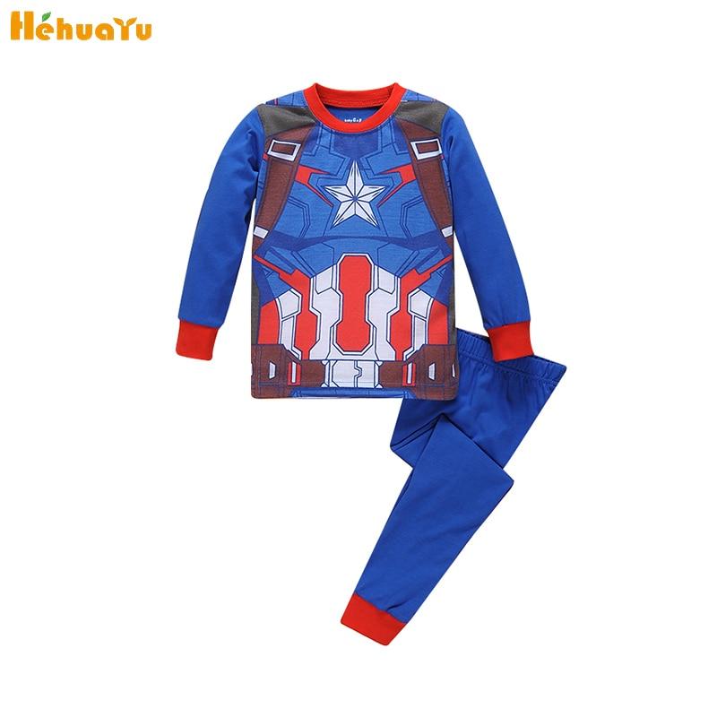 Мультфильм Мститель герой Американский капитан высокое качество Пижама для мальчиков Дети Досуг синий с длинным рукавом + Шорты Одежда для ...