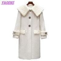 الجديد 2018 الخريف الشتاء الدافئ الصوف سترة المرأة الكورية طويلة معطف الصوف معطف الشابات الأزياء ضئيلة عالية الجودة الأبيض b312