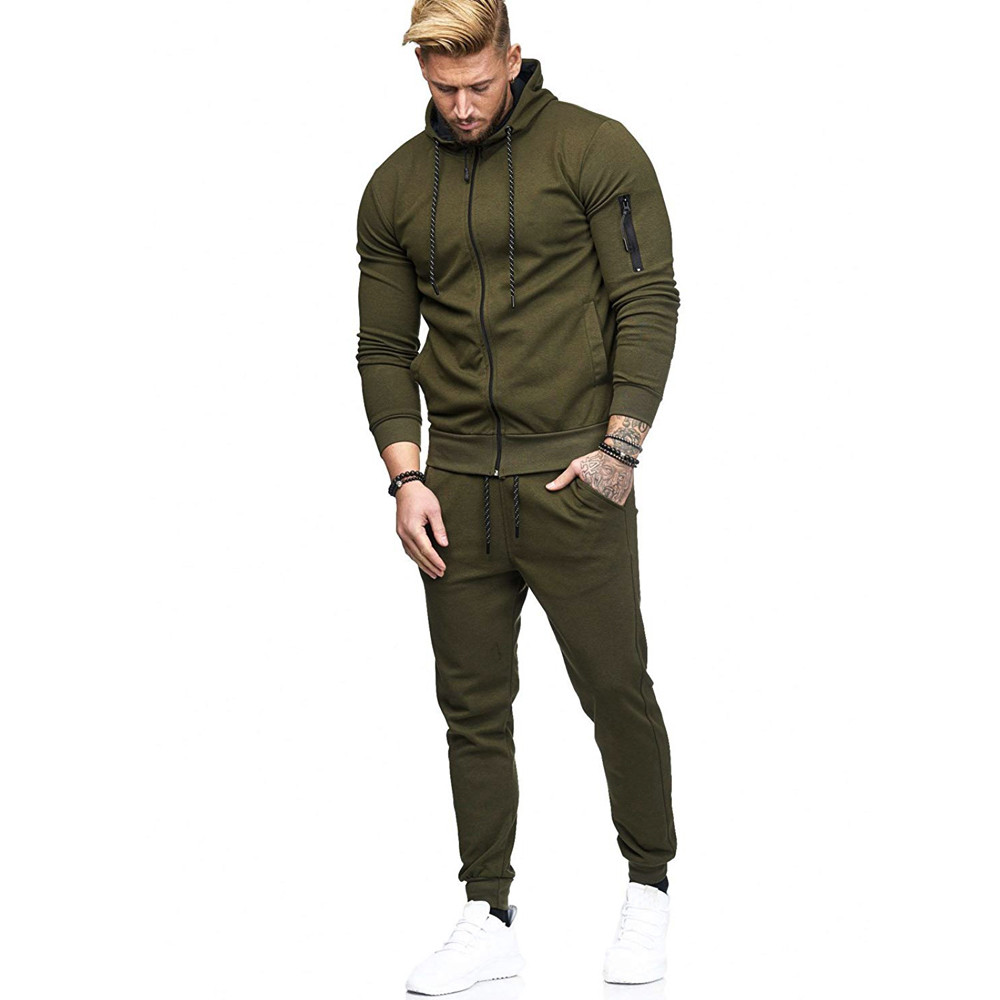 HTB1ZBjzdjfguuRjSspaq6yXVXXaJ 2019 fashion Patchwork Zipper Sweatshirt Top Pants Sets Sports Suit solid color slim Tracksuit High Quality Pullover clothing