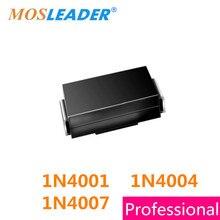 Mosleader 1N4007 1N4004 1N4001 M7 M4 M1 2000PCS SMA DO214AC 1A 50V 400V 1000V 1KV 4001 4004 4007 Chinese goods High quality