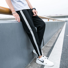 Paragraph Lang Legendary 2019 sport pants men summer  polyester elastic waist stripe printed sweatpants girdle leg