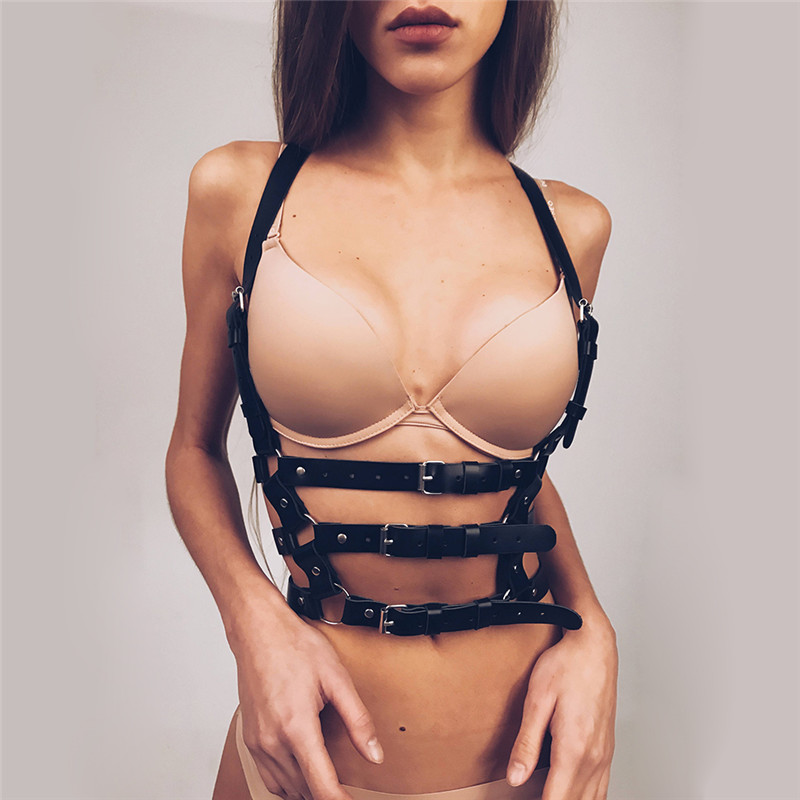 High Quality Faux Leather Harness Body Bondage Garter Belt Women Black Goth Cage Sculpting Waist Chest Slim Belts Buckle Garters