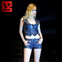 d9ce8222d Sexy Women Camo PU Faux Leather Sleeveless Short Tank Tops Sailor Collar  Night Club Pole Dance