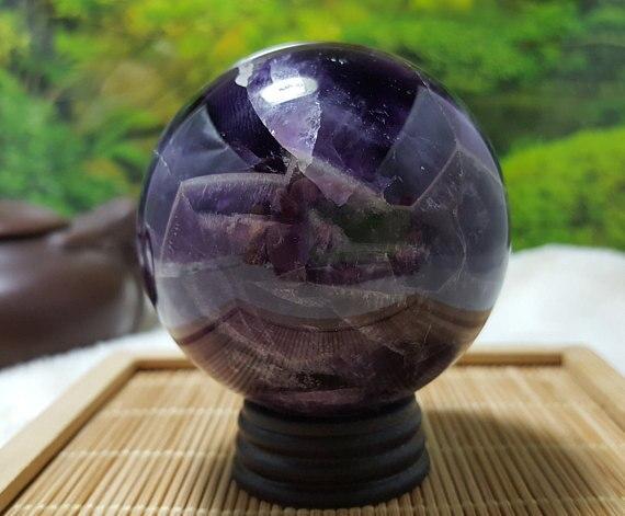 Шеврон с полосками, аметист, кристальная Сфера, исцеление/натуральный аметист, аметист, кварц, кристальная Сфера, исцеление 5-6 см