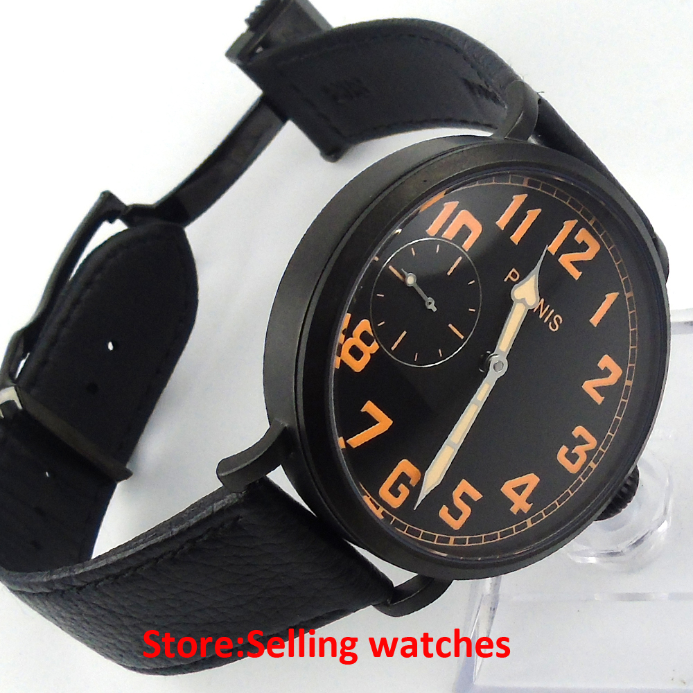 46mm parnis PVD CASE luminous black dial 6497 hand winding rubber strap mens watch цена