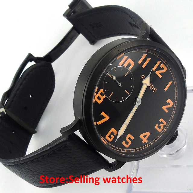 46mm parnis PVD CASE luminous black dial 6497 hand winding rubber strap mens watch