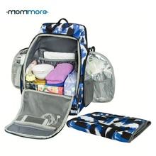Mommore Mochila de pañales Bolsa de pañales para bebés completamente abierta con cojín cambiador Mochilas de pañales para bebés Bolsas de pañales Cambios multifuncionales