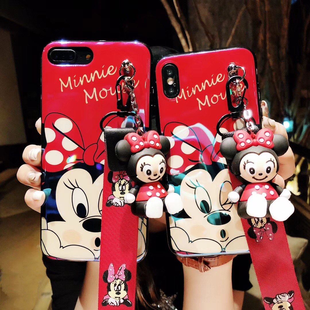 Cartoon Minnie Mouse Soft TPU case For iphone 7 8 7/8 plus Phone case Cover For iphone 6 6S Plus X Doll Can be used as a Support