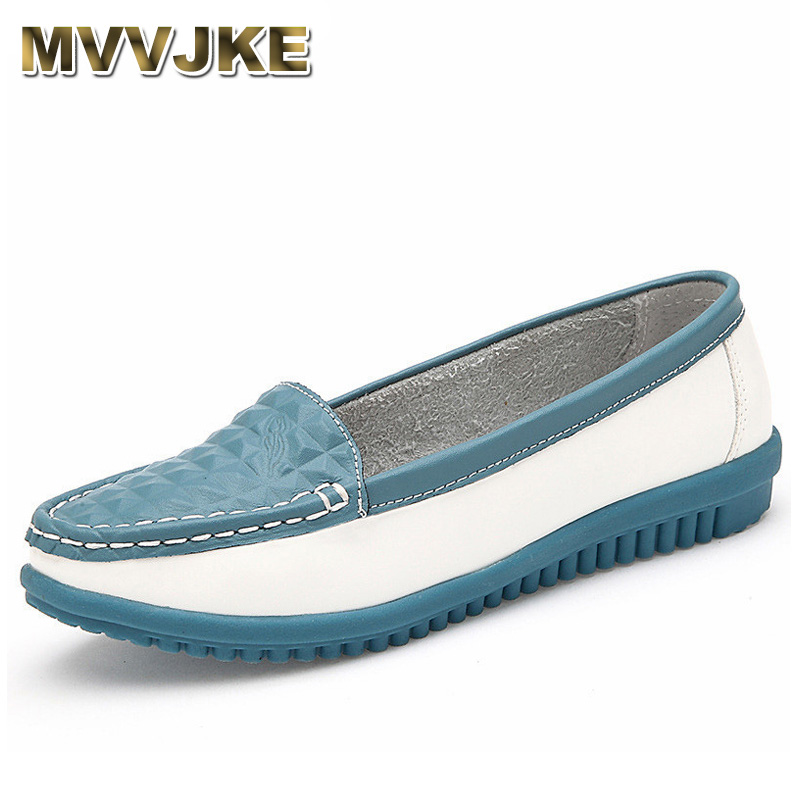 MVVJKE 2017 New Women's Casual Shoes Cow Leather Woman Flats Shoe Moccasins Female Loafers Slip On Boat Shoes Leisure Single