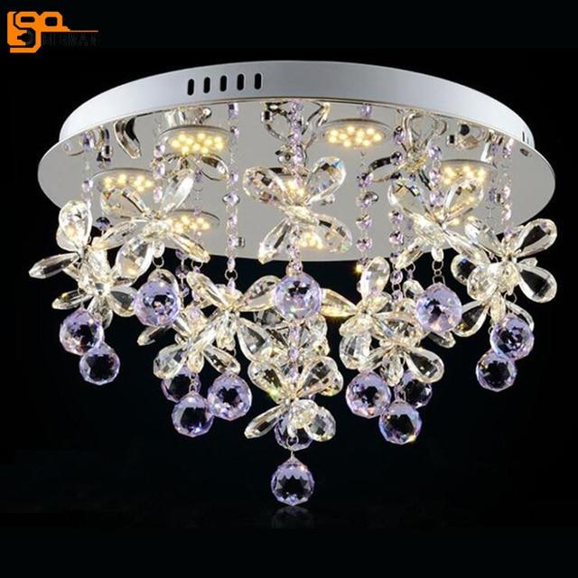 US $324.7 15% di SCONTO|Trasporto libero nuovo design moderno lampadario di  cristallo di luce Dia50 * H40cm lustro cristal lampadario camera da letto  ...