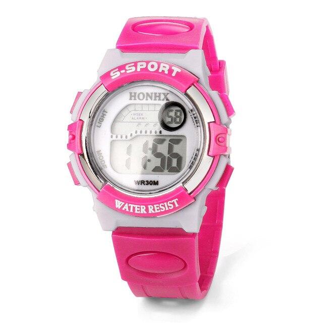 HONHX Simple LED electronic wristwatch Waterproof Children Boys Digital Sports W