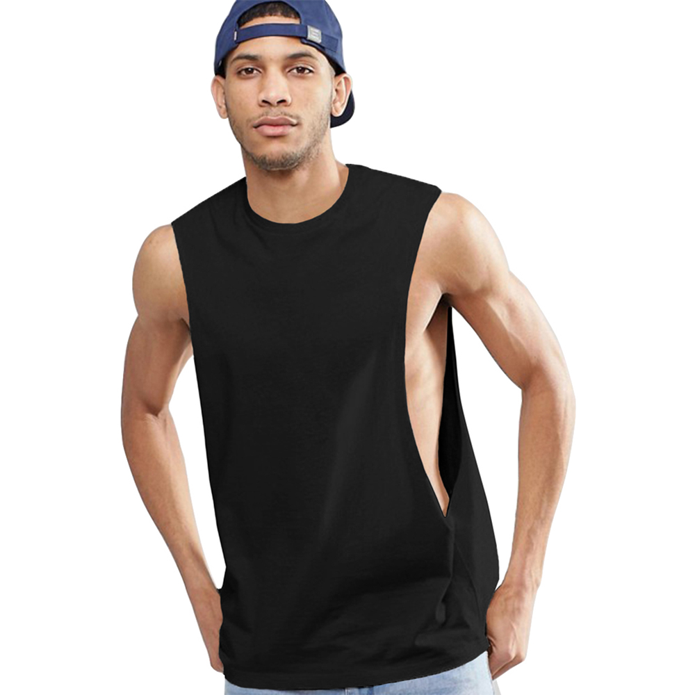 OA Fitness Men's Sleeveless Vest With Extreme Dropped Armhole Crew Neck Regular Fit Shirts Tank Tops