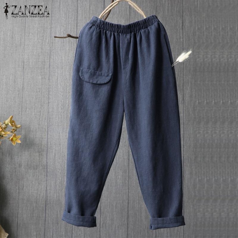2018 Summer ZANZEA Casual Loose Turnip Trousers Wide Leg Pantalon Women Vintage Solid Elastic Waist Pockets Long Baggy Pants