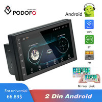 Podofo 2 Din Car radio Android Multimedia Player GPS Navigation 7 HD Touch Screen Digital Display Universal auto Audio Stereo
