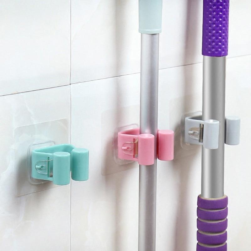 1PC Multi-function Wall Mounted Mop Holder Traceless Sucker Hook Kitchen Bathroom Umbrella/Broom/Mop Storage Organizer Shelves