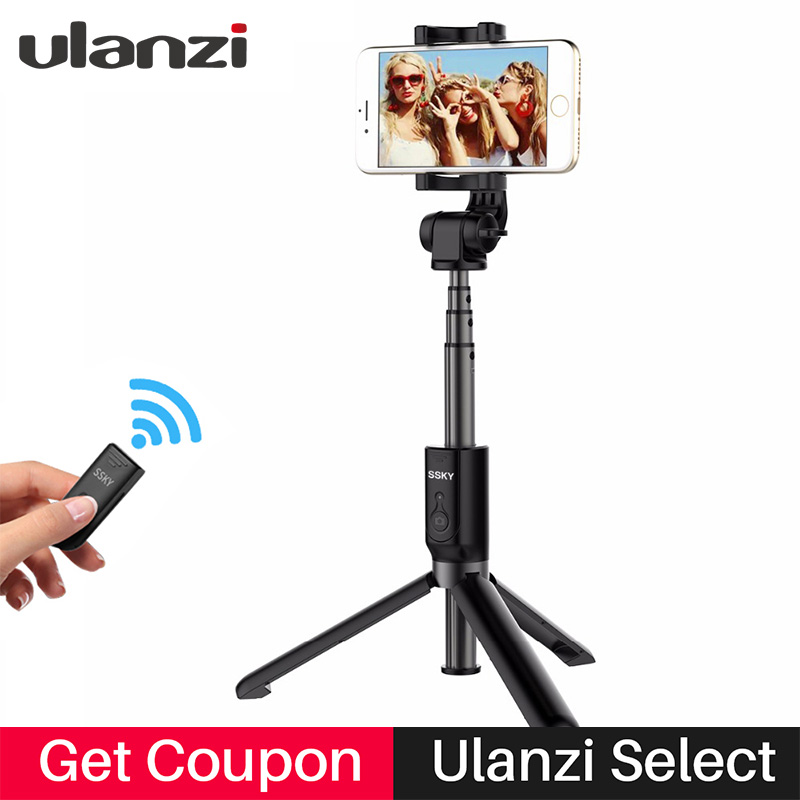 Ulanzi Mini Tripod Monopod Selfie Stick Bluetooth Remote Control Extendable Monopod Tripode for iphone X 7plus Android PK Benro