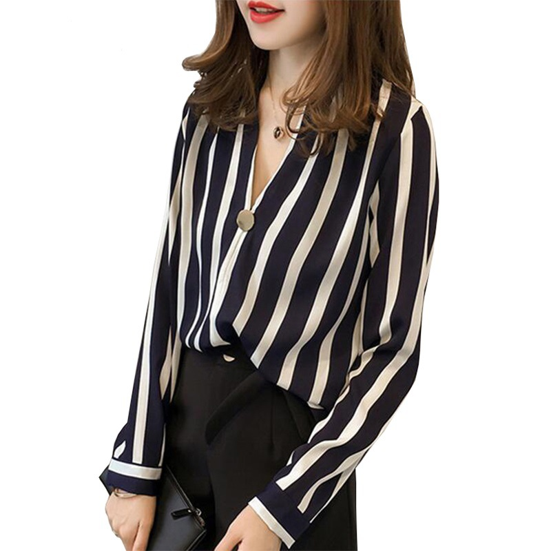 2018 Chiffon   Blouse     Shirt   Striped Office V-Neck Autumn   Blouse   Women Long Sleeve Harajuku Casual Boho Ladies Tops Camisa Feminina
