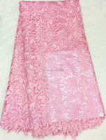 New Fashion 100 Cotton Water Soluble French Swiss Voile African Velvet Cord Lace Fabric In Pink